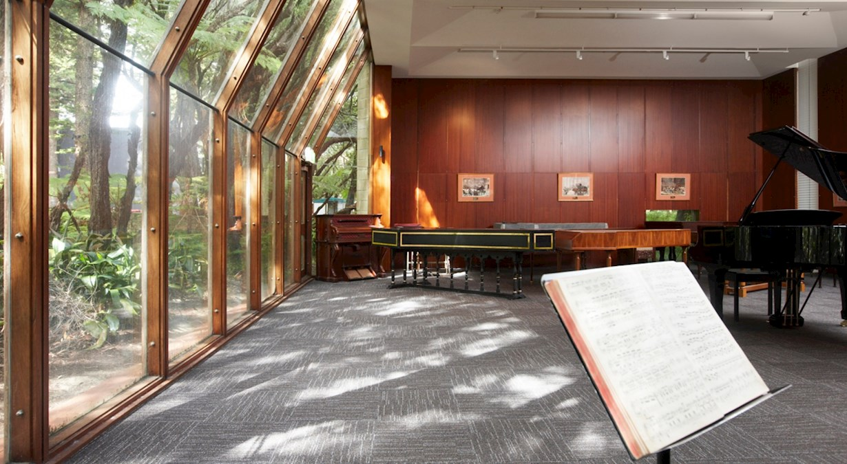 Music room with music stand and several pianos