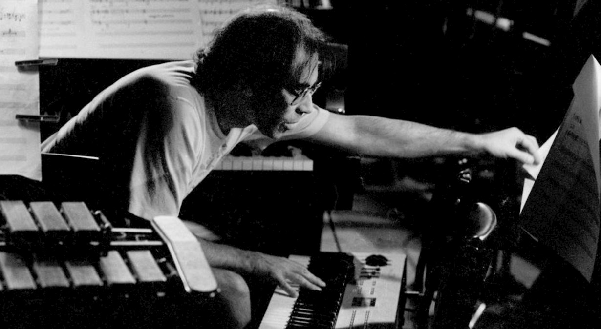 Roger Smalley playing piano