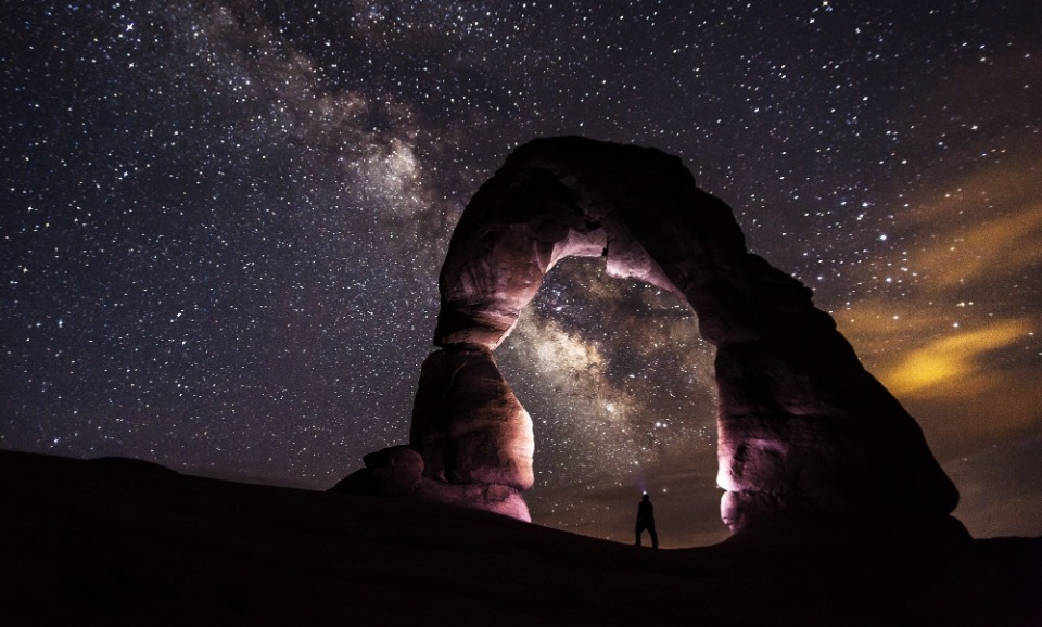 Rock arch against the milky way at night