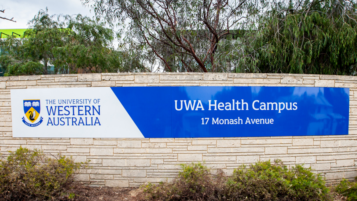 UWA Health campus sign