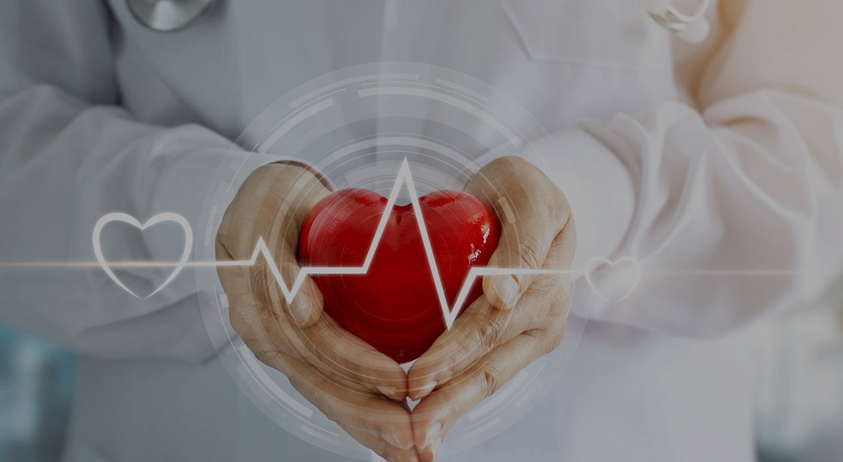 Doctor with stethoscope and red heart shape with icon heartbeat