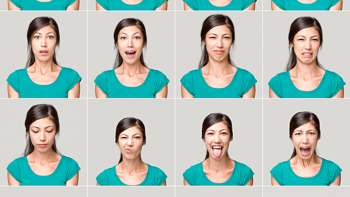 Woman pulling different faces