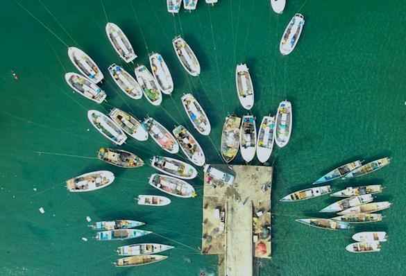drone shot of many boats around a pier