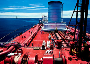 View from bridge of oil tanker