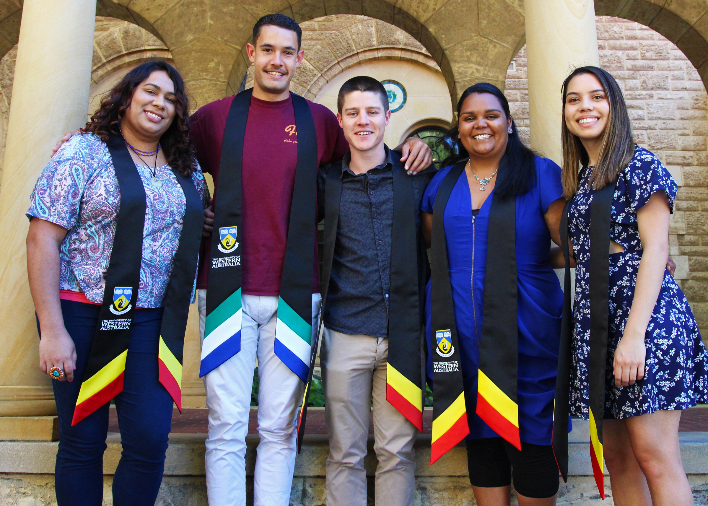 Indigenous graduates Ricki-lee Walley, Arthur Pitt, Declan Scott, Angela Crombie and Jamela King