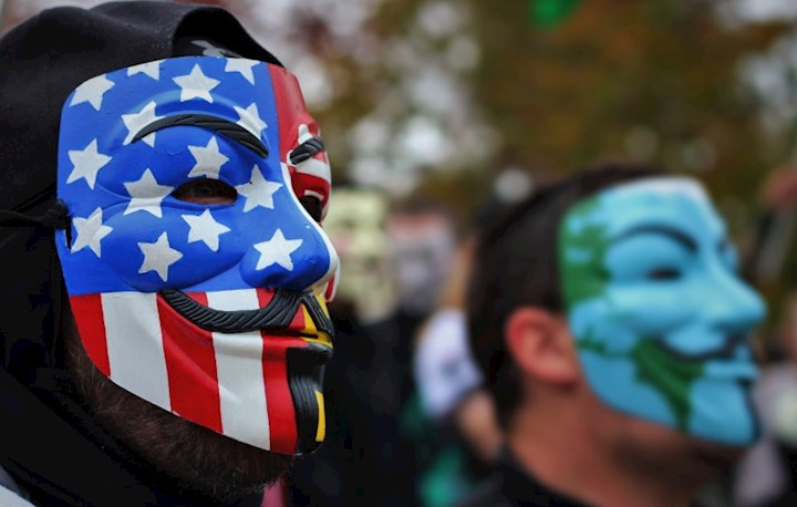 Mask with US flag