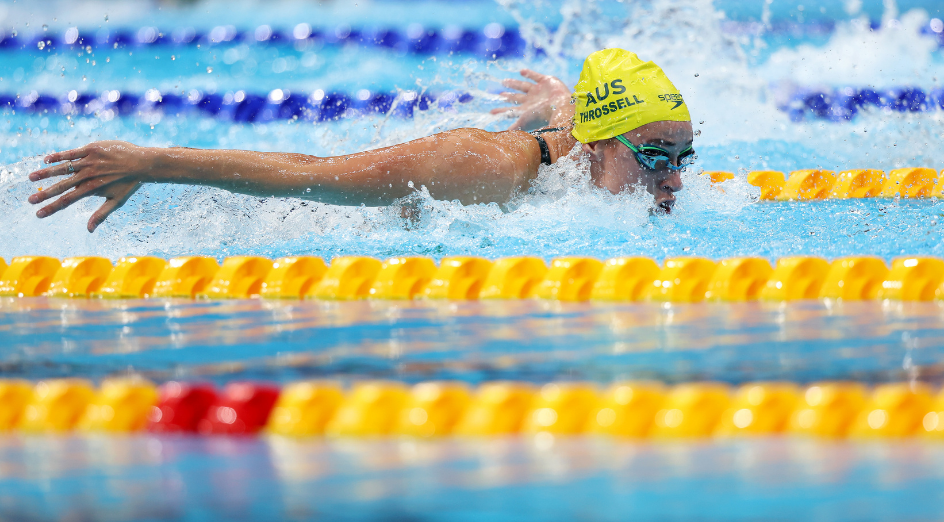 TOKYO, JAPAN - JULY 30: Brianna Throssell of Team Australia competes in heat one of the Women's 4 x 100m Medley Relay on day seven of the Tokyo 2020 Olympic Games at Tokyo Aquatics Centre on July 30, 2021 in Tokyo, Japan. (Photo by Tom Pennington/Getty Images)