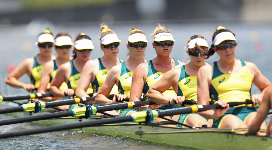 TOKYO, JAPAN - JULY 24: Genevieve Horton, Olympia Aldersey, Bronwyn Cox, Giorgia Patten, Sarah Hawe, Georgina Rowe, Katrina Werry, Molly Goodman and James Rook of Team Australia compete during the Women's Eight Heat 2 on day one of the Tokyo 2020 Olympic Games at Sea Forest Waterway on July 24, 2021 in Tokyo, Japan. (Photo by Cameron Spencer/Getty Images)