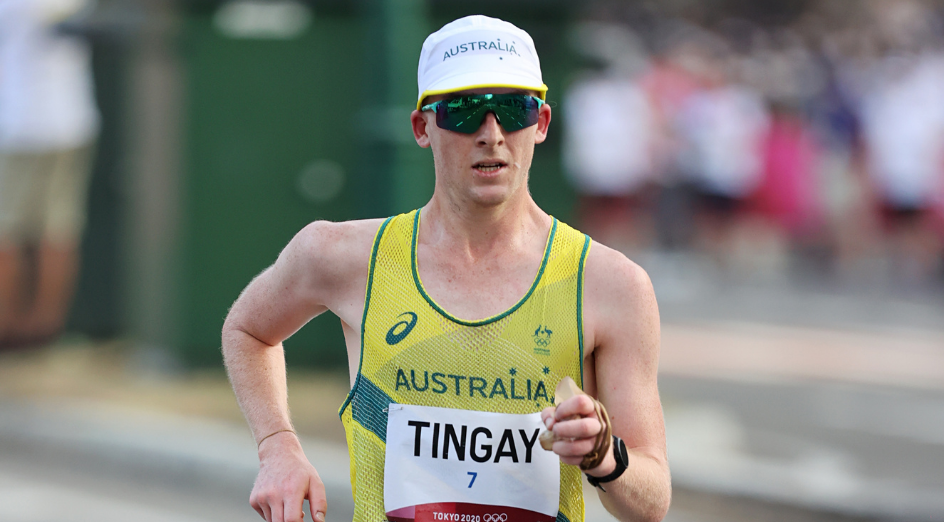 SAPPORO, JAPAN - AUGUST 05: Declan Tingay of Team Australia competes in the Men's 20km Race Walk on day thirteen of the Tokyo 2020 Olympic Games at Sapporo Odori Park on August 05, 2021 in Sapporo, Japan. (Photo by Clive Brunskill/Getty Images)