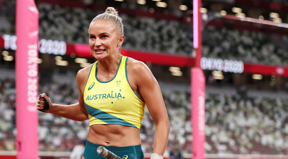 TOKYO, JAPAN - AUGUST 02: Elizaveta Parnova of Team Australia reacts after competing in the Women's Pole Vault qualification on day ten of the Tokyo 2020 Olympic Games at Olympic Stadium on August 02, 2021 in Tokyo, Japan. (Photo by Cameron Spencer/Getty Images)