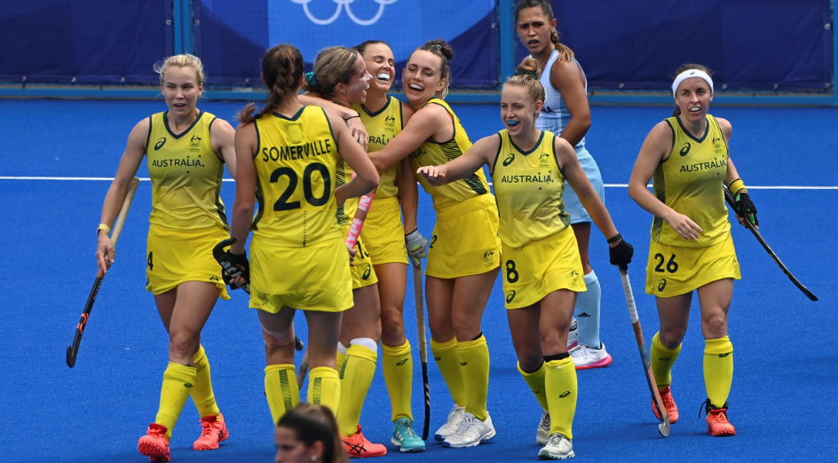 Members of Team Australia celebrate scoring during the women's pool of hockey between Argentina and Australia at the Tokyo 2020 Olympic Games in Tokyo, Japan, July 31, 2021. (Photo by Zhang Xiaoyu/Xinhua via Getty Images)