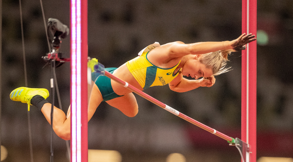 TOKYO, JAPAN August 2: Nina Kennedy of Australia in action during the qualification pole vault for women during the Track and Field competition at the Olympic Stadium at the Tokyo 2020 Summer Olympic Games on August 2nd, 2021 in Tokyo, Japan. (Photo by Tim Clayton/Corbis via Getty Images)