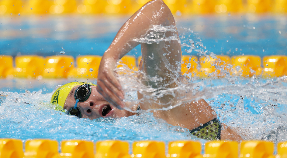 TOKYO, JAPAN - JULY 28: Tamsin Cook of Team Australia competes in heat six of the Women's 4x200m Freestyle Relay Heat 2 on day five of the Tokyo 2020 Olympic Games at Tokyo Aquatics Centre on July 28, 2021 in Tokyo, Japan. (Photo by Al Bello/Getty Images)