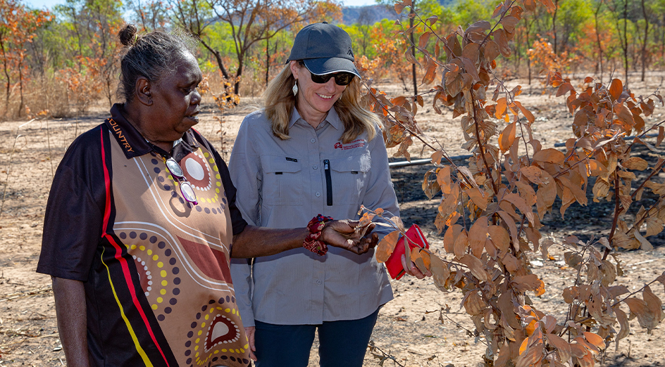 Jawoyn Traditional Owner Bessie Coleman and UWA Associate Professor Samantha Setterfield and working on fire management in Kakadu National Park, NT