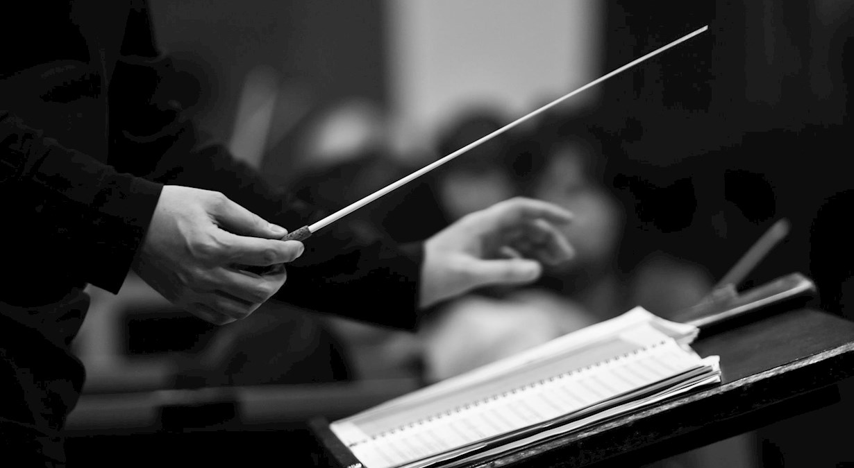 Conductor hands close up