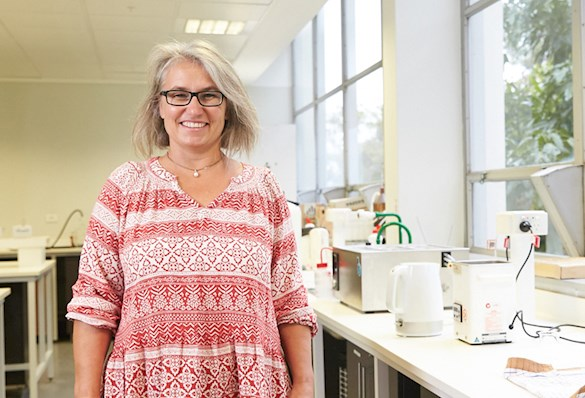 Dr Connie Locher in lab environment