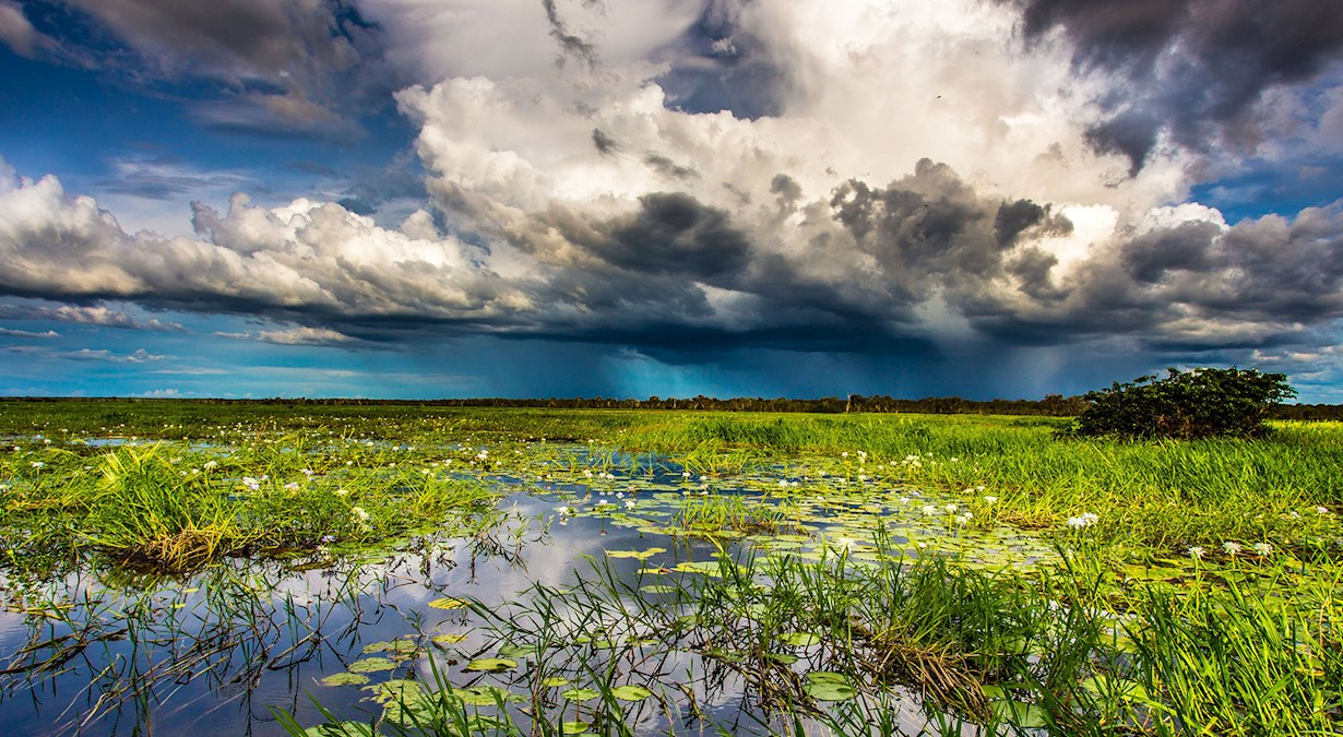 storm clouds over lake
