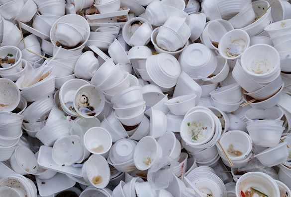Used polystyrene food containers