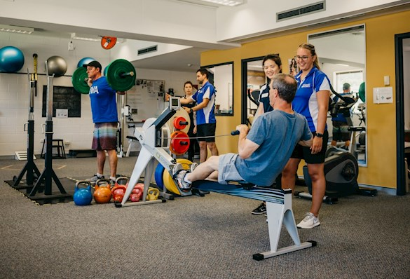 Clients and students working out in UWA Exercise Performance Centre.
