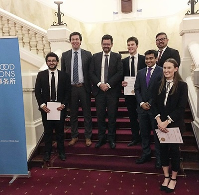 Samuel Landro and team at mooting competition
