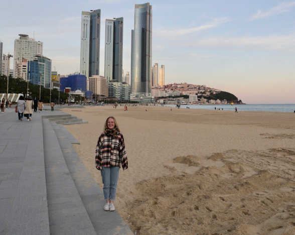 Student standing on a beach in Busan, South Korea