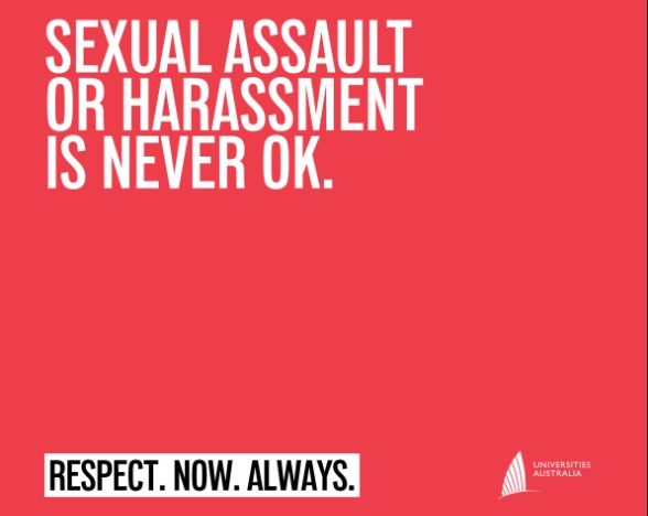 "Text: ""Sexual assault or harassment is never OK. Respect. Now. Always."""