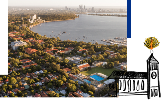 Aerial view of Swan River with The University of Western Australia in the foreground