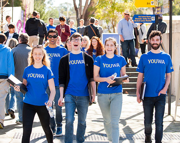Students in UWA t-shirts