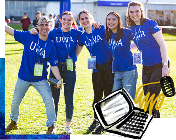 Group of happy staff members wearing UWA t-shirts