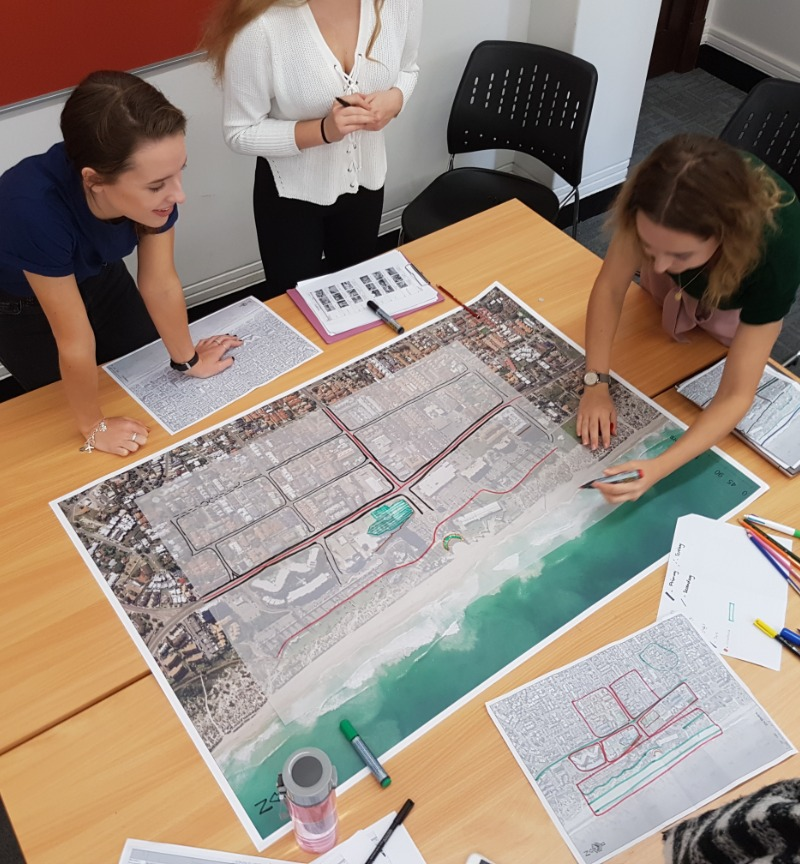 Students analysing a map