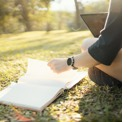 Taking notes outdoors