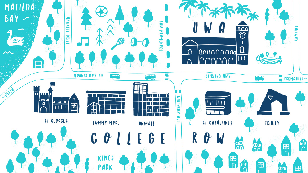 Hand-drawn map of UWA Residential Colleges in relation to UWA
