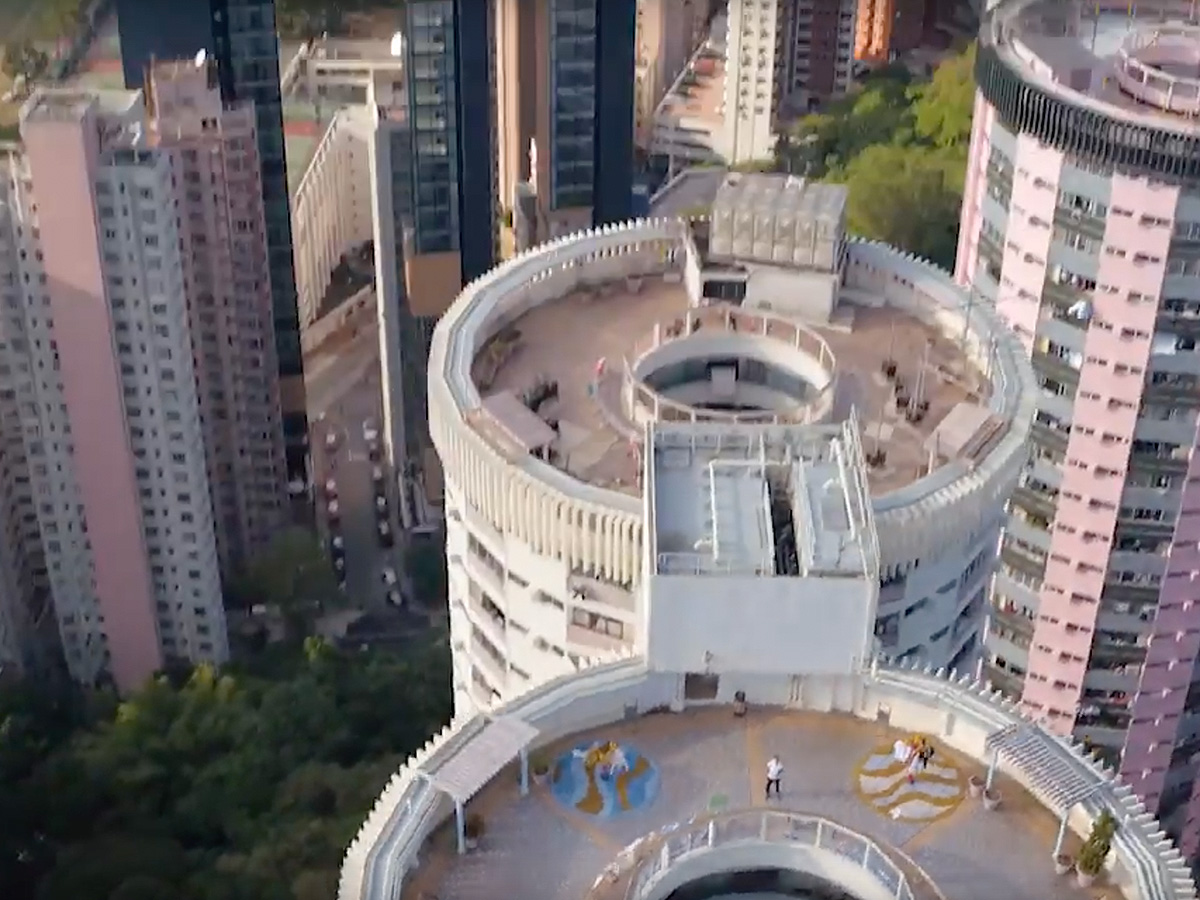 Aerial view of Hong Kong building