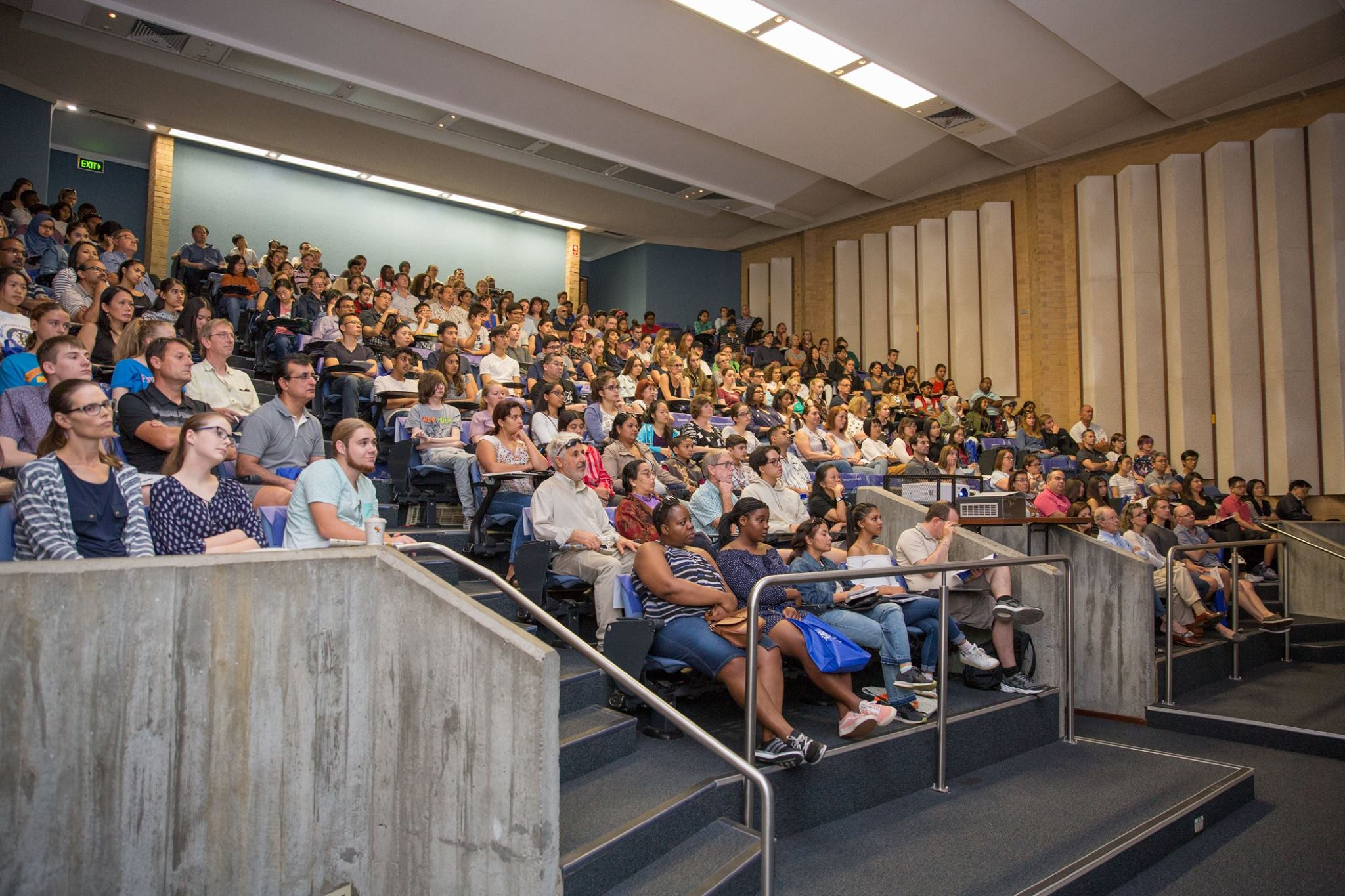 Full lecture theatre at open day