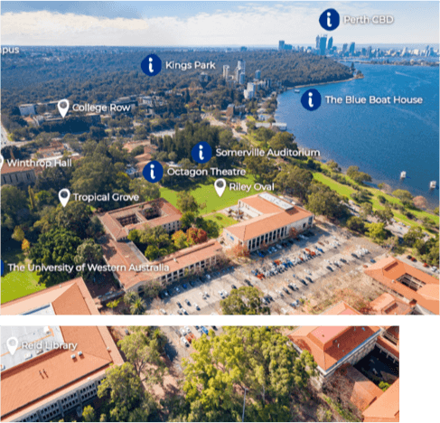 Aerial view of UWA campus and river