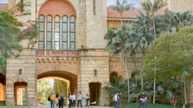 View of Winthrop Hall with students outside