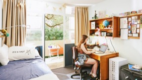 Student studying in UWA accommodation