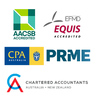 Accreditor logos - Association to Advance Collegiate Schools of Business (AACSB) accredited logo; European Foundation for Management Development (EFMD and European Quality Improvement System (EQUIS) accredited logo in one; Certified Practicing Accountant (CPA) logo; Principles for Responsible Management Education (PRME) logo; Chartered Accountants Australia New Zealand logo