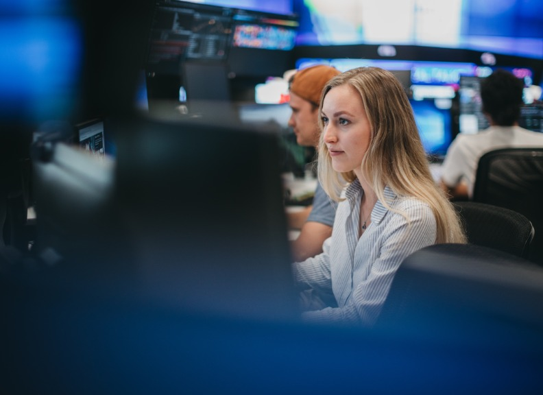 UWA student in the Trading Room