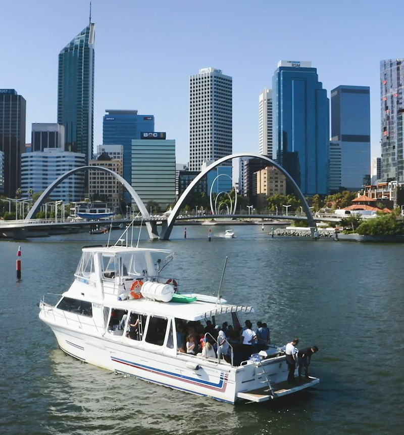 Students on a boat in Elizabeth Quay