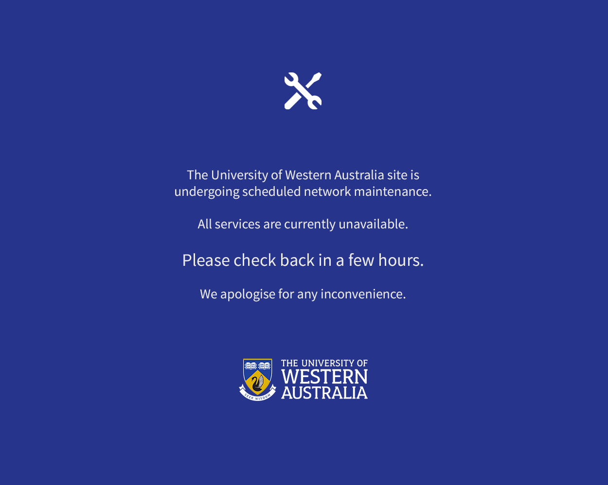 The University of Western Australia Site is undergoing scheduled network maintenance.  All service are currently unavailable.  Please check back in a few hours